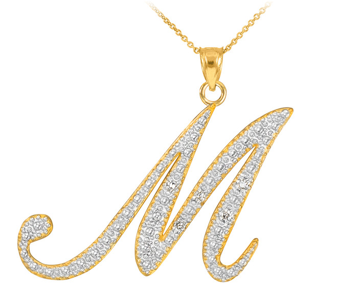 "14k Gold Letter Script ""M"" Diamond Initial Pendant Necklace"