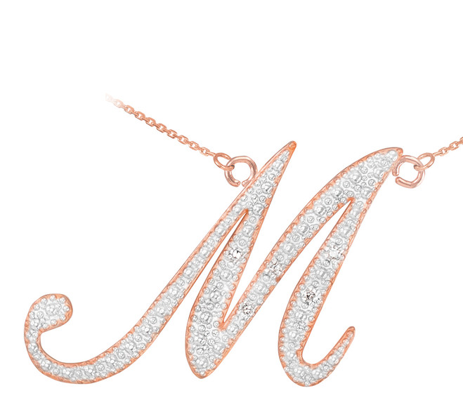 "14k Rose Gold Letter Script ""M"" Diamond Initial Necklace"