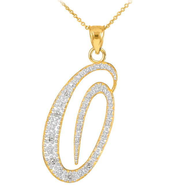 "14k Gold Letter Script ""O"" Diamond Initial Pendant Necklace"