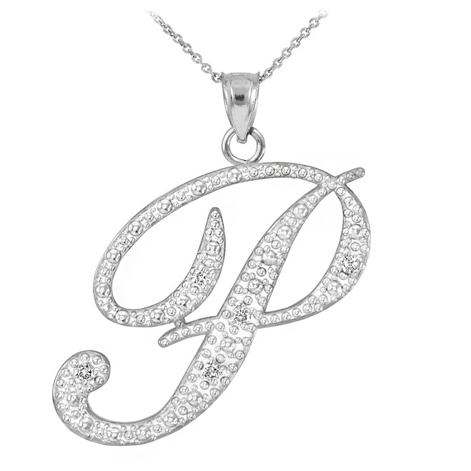 "14k White Gold Letter Script ""P"" Diamond Initial Pendant Necklace"