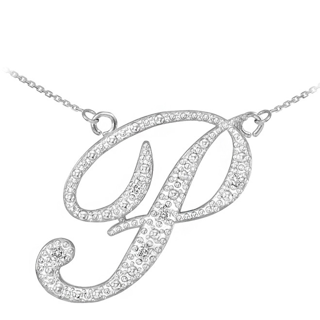 "14k White Gold Letter Script ""P"" Diamond Initial Necklace"