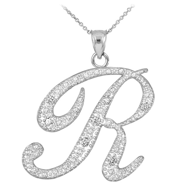"14k White Gold Letter Script ""R"" Diamond Initial Pendant Necklace"