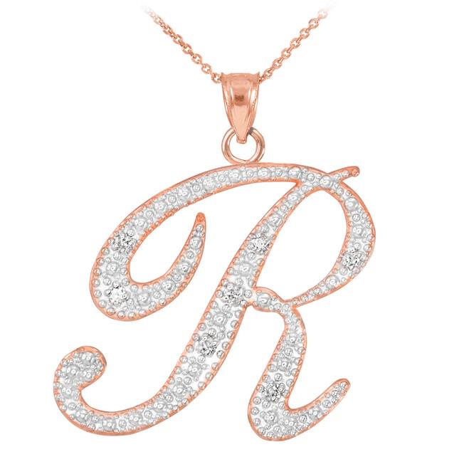 """14k Rose Gold Letter Script """"R"""" Diamond Initial Pendant Necklace"""
