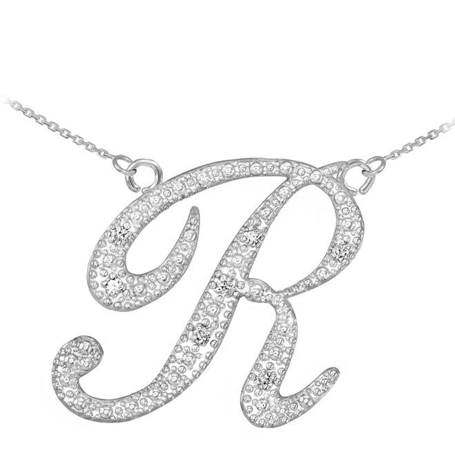 "14k White Gold Letter Script ""R"" Diamond Initial Necklace"