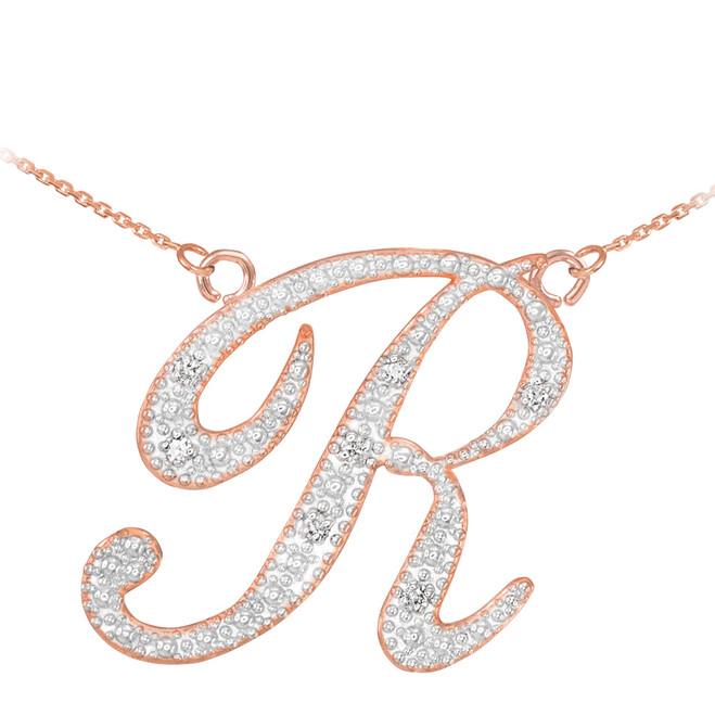 "14k Rose Gold Letter Script ""R"" Diamond Initial Necklace"