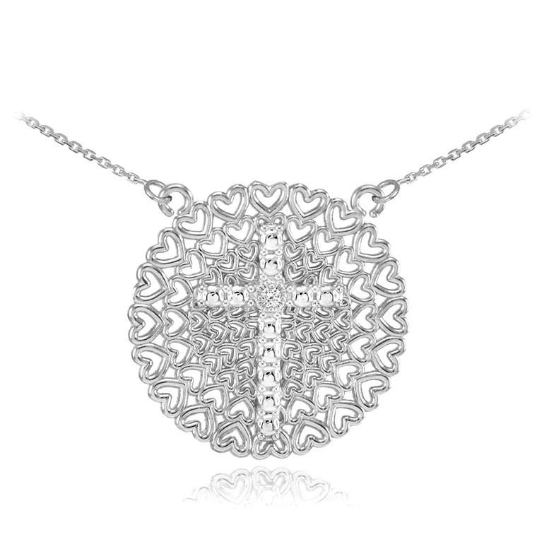 Sterling Silver Filigree Heart Cross CZ Necklace