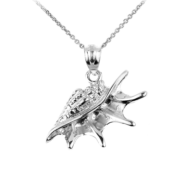 White Gold Sea shell Charm Pendant Necklace