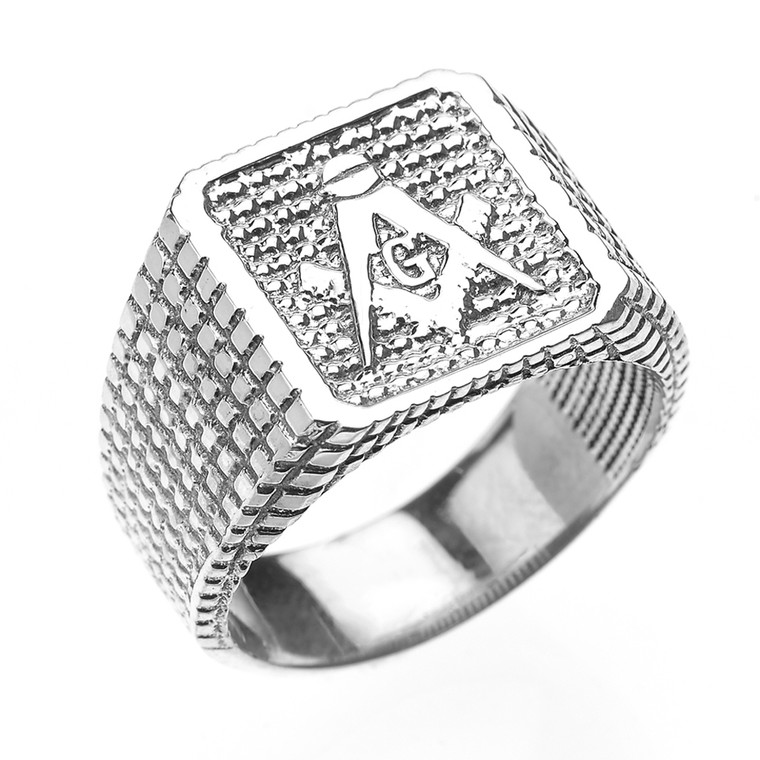 Sterling Silver Textured Band Masonic Men's Ring