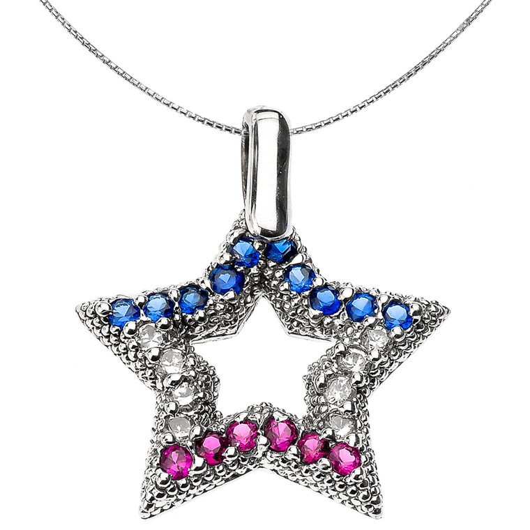Sterling Silver American Star Pendant Necklace