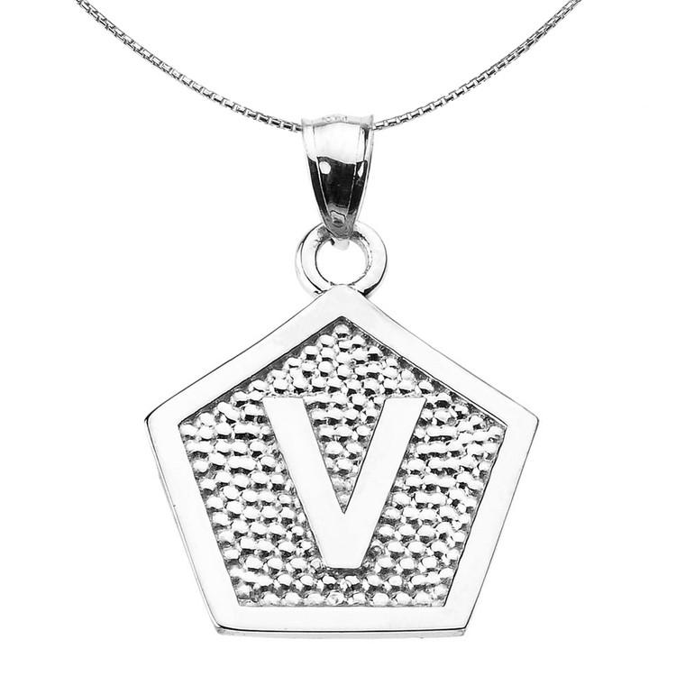 "Sterling Silver Initial ""V"" Engravable Pentagon Shape Pendant Necklace"