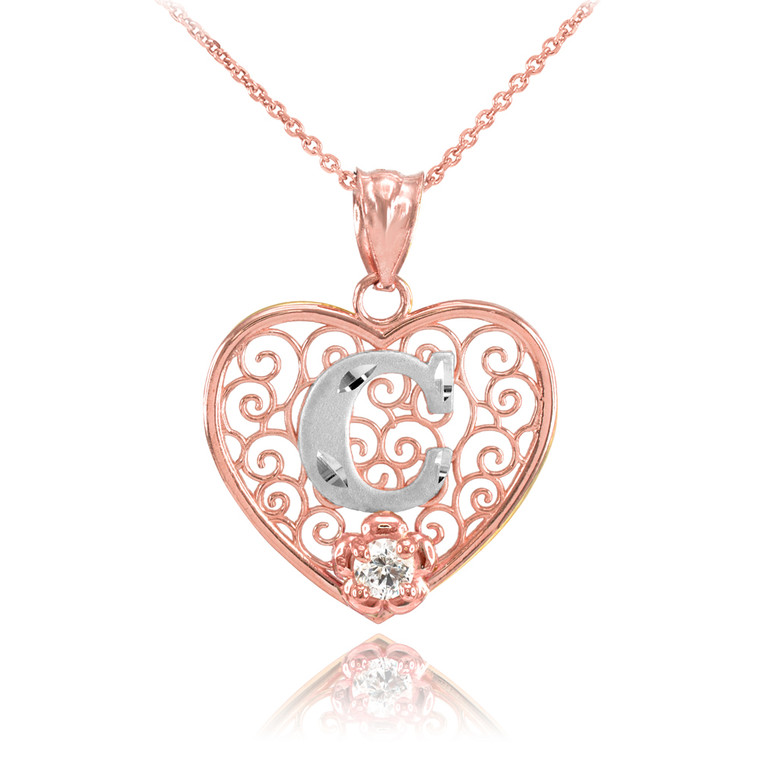 """Two Tone Rose Gold Filigree Heart """"C"""" Initial CZ Pendant Necklace"""