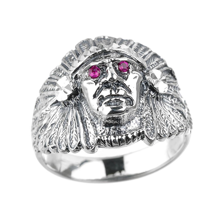 Sterling Silver Indian Head Men's Ring with Red Cubic Zirconia