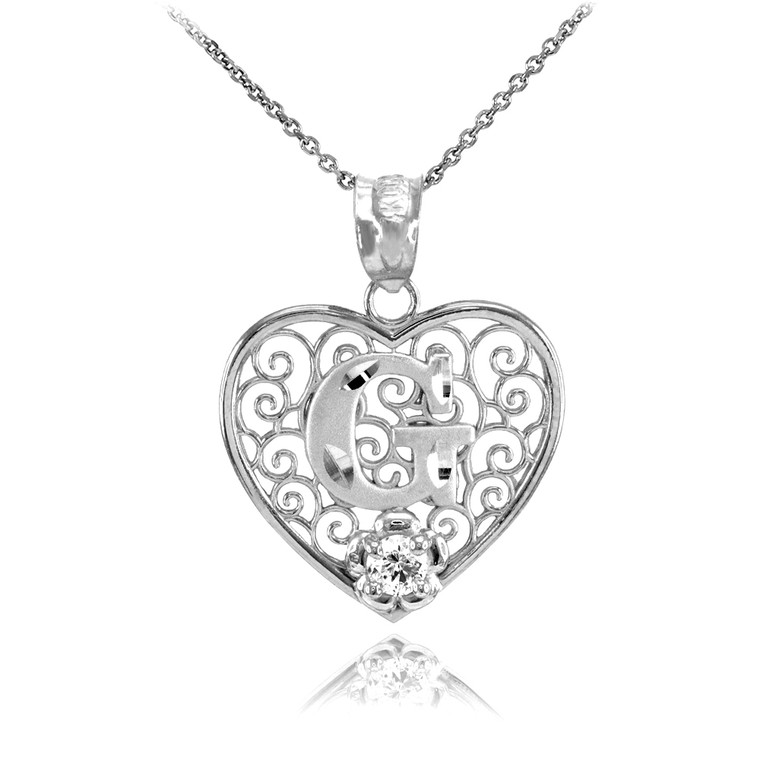 """White Gold Filigree Heart """"G"""" Initial CZ Pendant Necklace"""