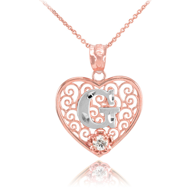 """Two Tone Rose Gold Filigree Heart """"G"""" Initial CZ Pendant Necklace"""