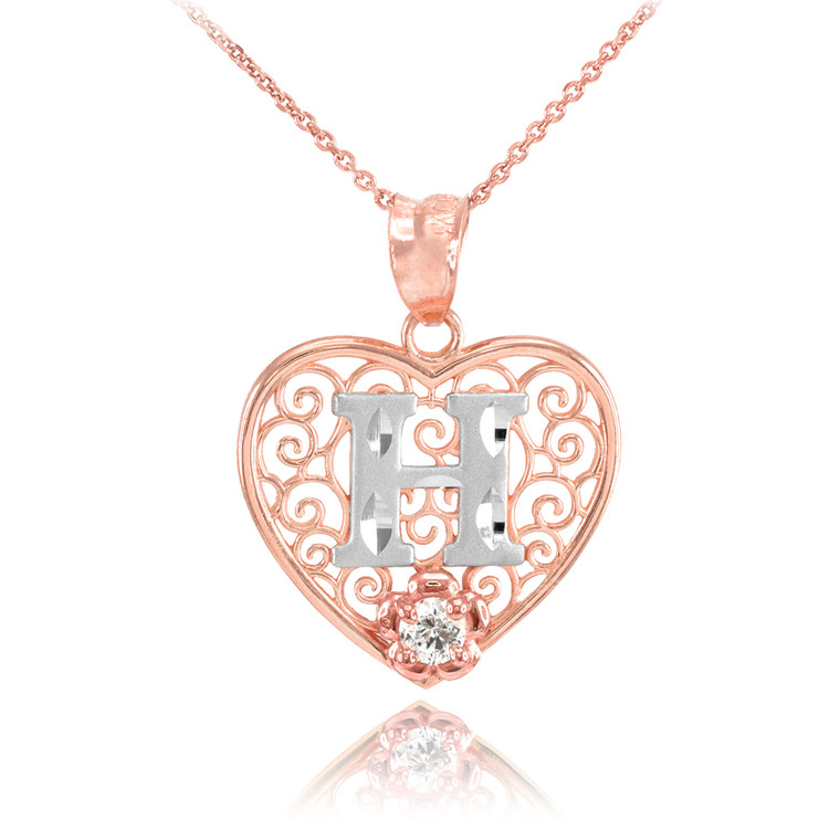"""Two Tone Rose Gold Filigree Heart """"H"""" Initial CZ Pendant Necklace"""