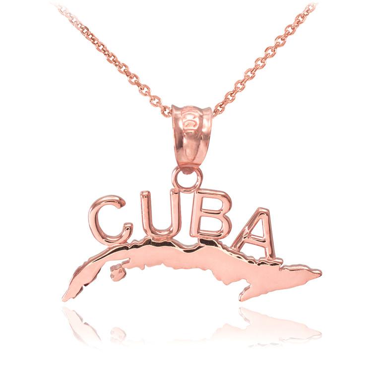 Rose Gold CUBA  Pendant Necklace
