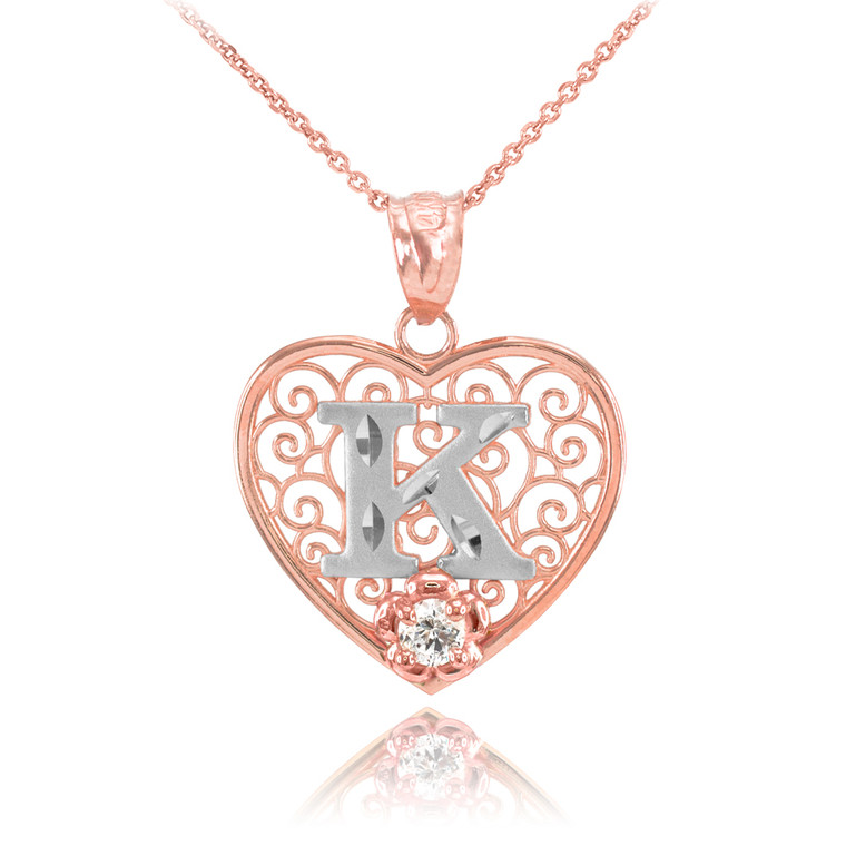 """Two Tone Rose Gold Filigree Heart """"K"""" Initial CZ Pendant Necklace"""