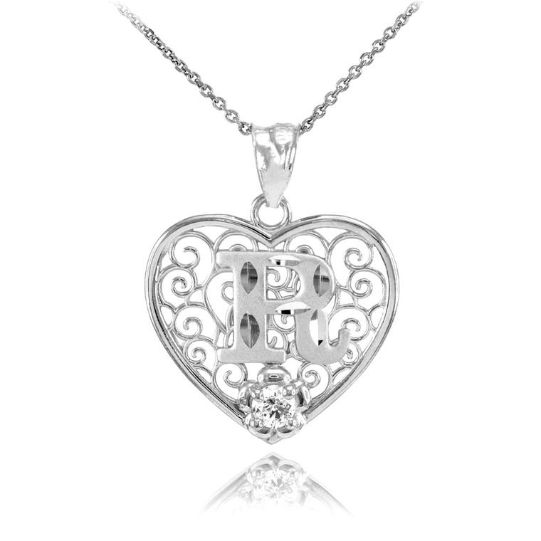 "Silver Filigree Heart ""R"" Initial CZ Pendant Necklace"