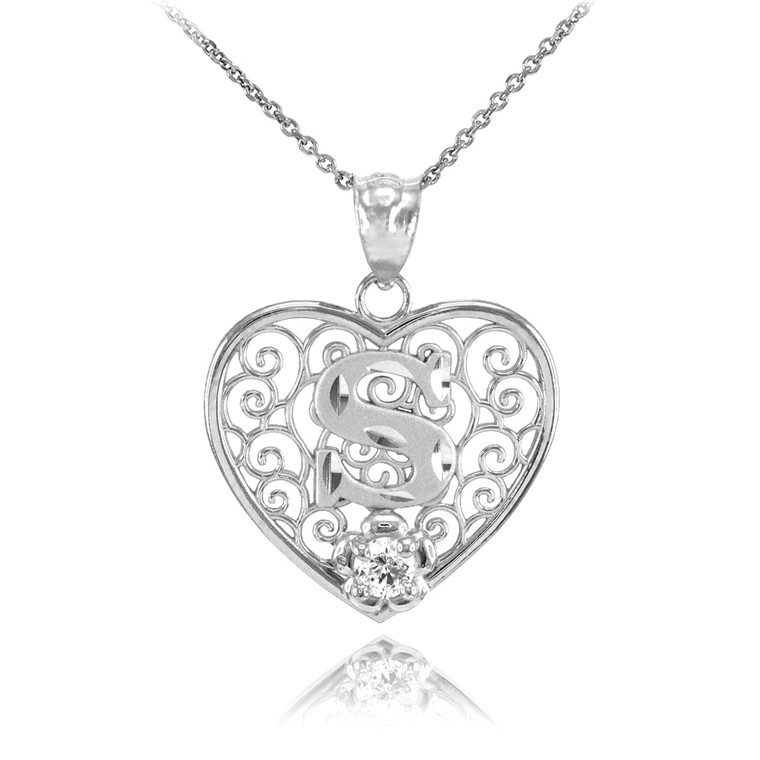 """Silver Filigree Heart """"S"""" Initial CZ Pendant Necklace"""