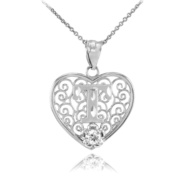 """Silver Filigree Heart """"T"""" Initial CZ Pendant Necklace"""