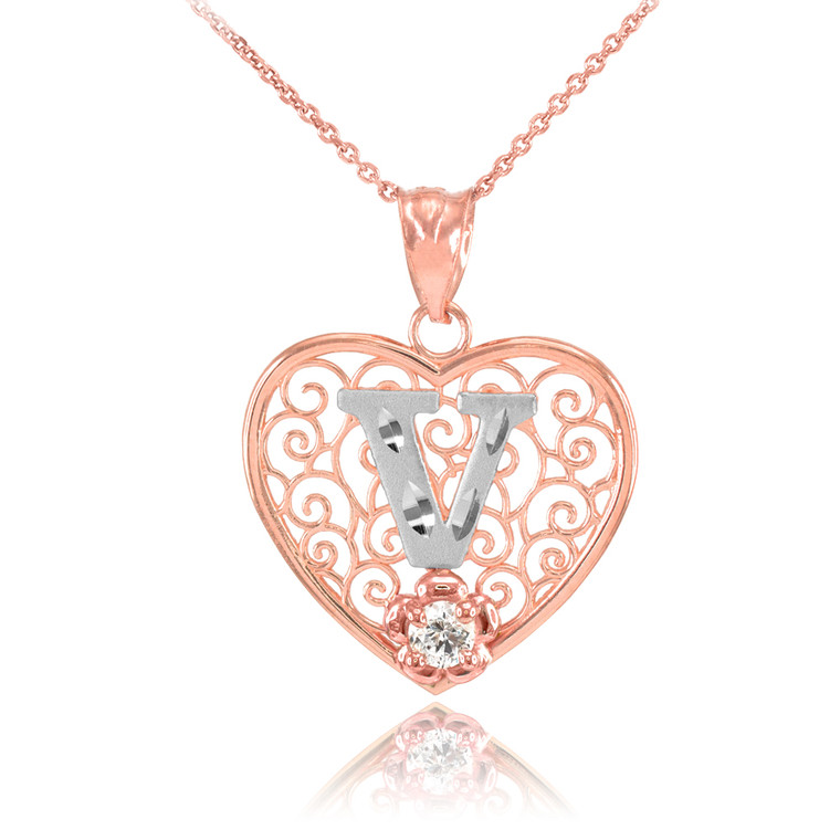 """Two Tone Rose Gold Filigree Heart """"V"""" Initial CZ Pendant Necklace"""