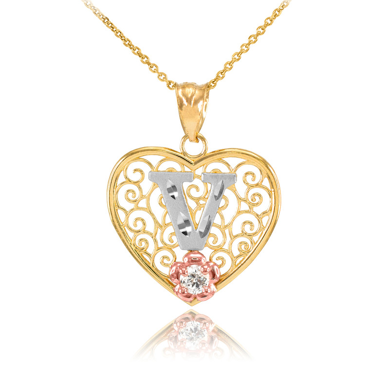 """Two Tone Yellow Gold Filigree Heart """"V"""" Initial CZ Pendant Necklace"""
