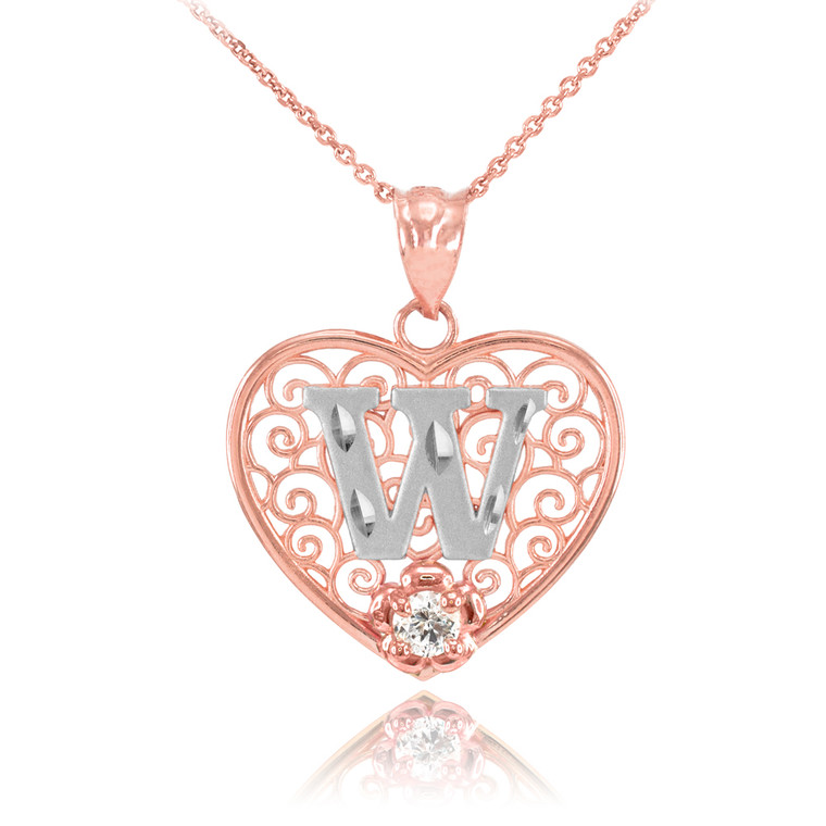 """Two Tone Rose Gold Filigree Heart """"W"""" Initial CZ Pendant Necklace"""