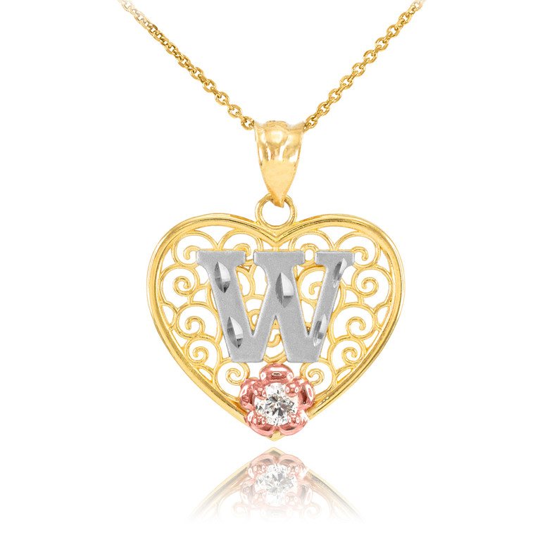 """Two Tone Yellow Gold Filigree Heart """"W"""" Initial CZ Pendant Necklace"""