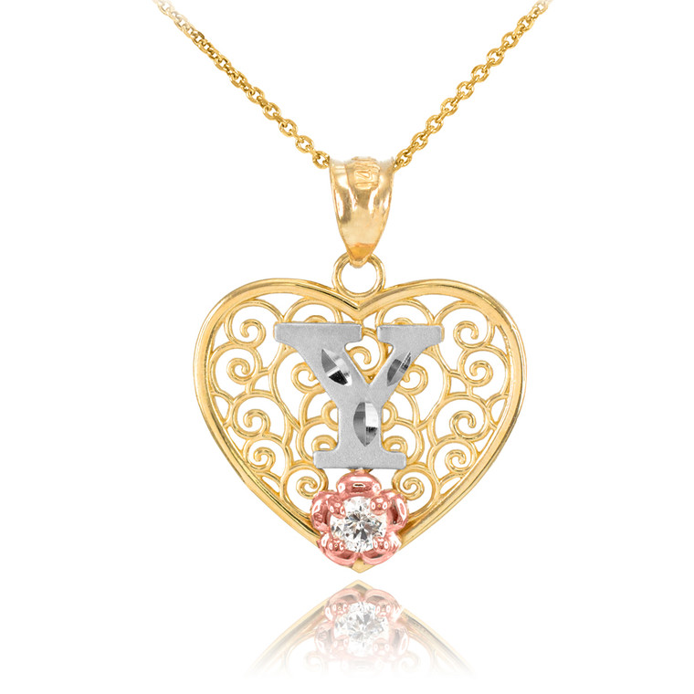 """Two Tone Yellow Gold Filigree Heart """"Y"""" Initial CZ Pendant Necklace"""