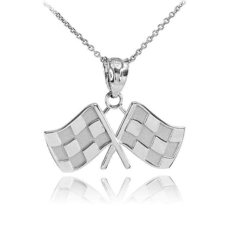 Sterling Silver Racing Flags Pendant Necklace