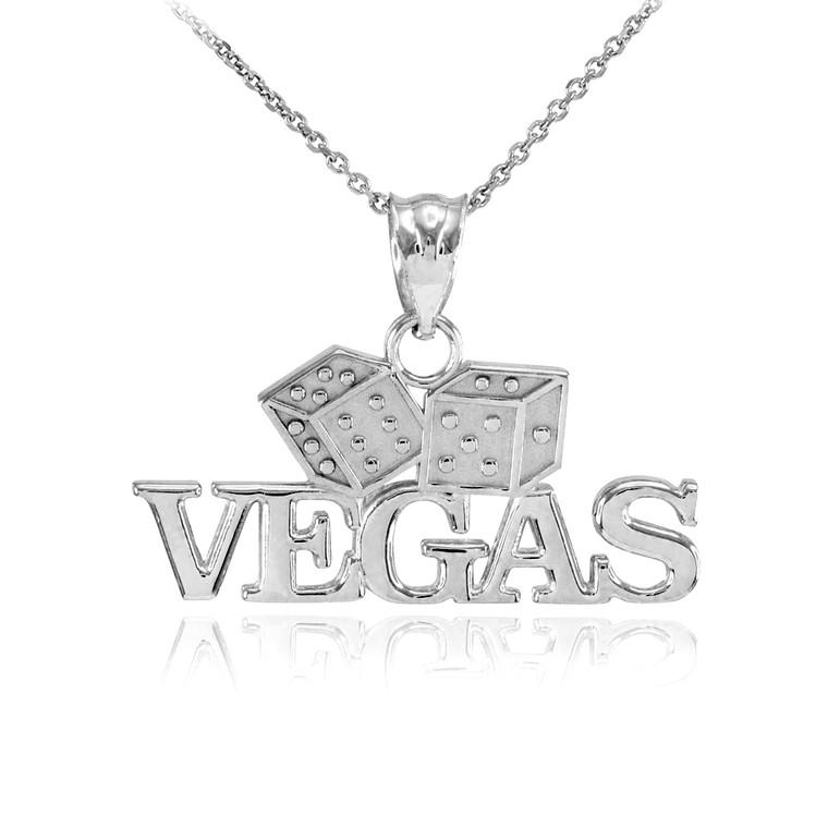 White Gold VEGAS Dice Pendant Necklace