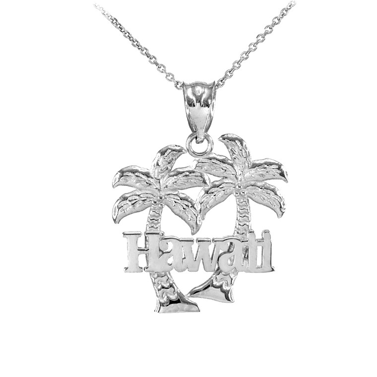 White Gold Hawaii Palm Tree Pendant Necklace