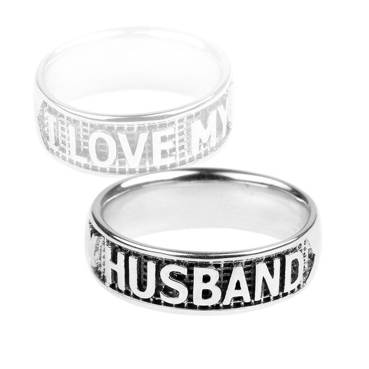 """Sterling Silver """"I LOVE MY HUSBAND"""" Statement Band Ring"""