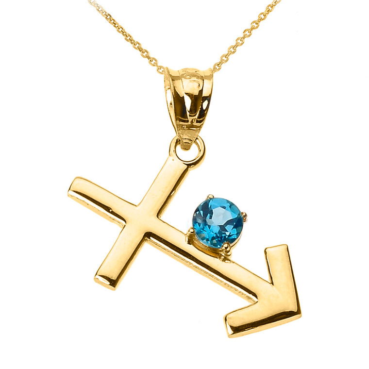 Yellow Gold Sagittarius Zodiac Sign December Birthstone Pendant Necklace