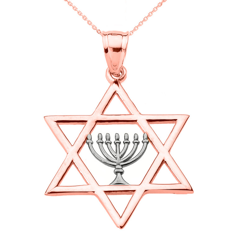 Rose Gold Star of David with Menorah Pendant Necklace