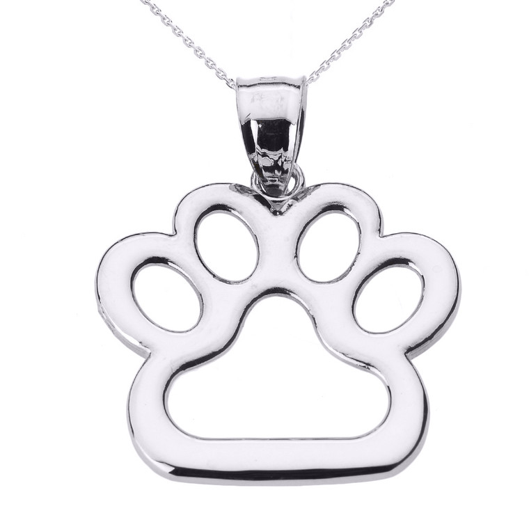 White Gold Dog Paw Print Pendant Necklace