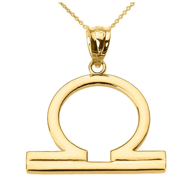 Yellow Gold Libra October Zodiac Sign Pendant Necklace
