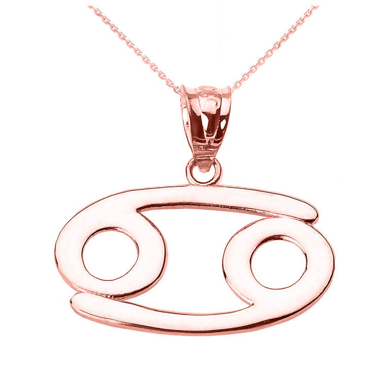 Rose Gold Cancer July Zodiac Sign Pendant Necklace