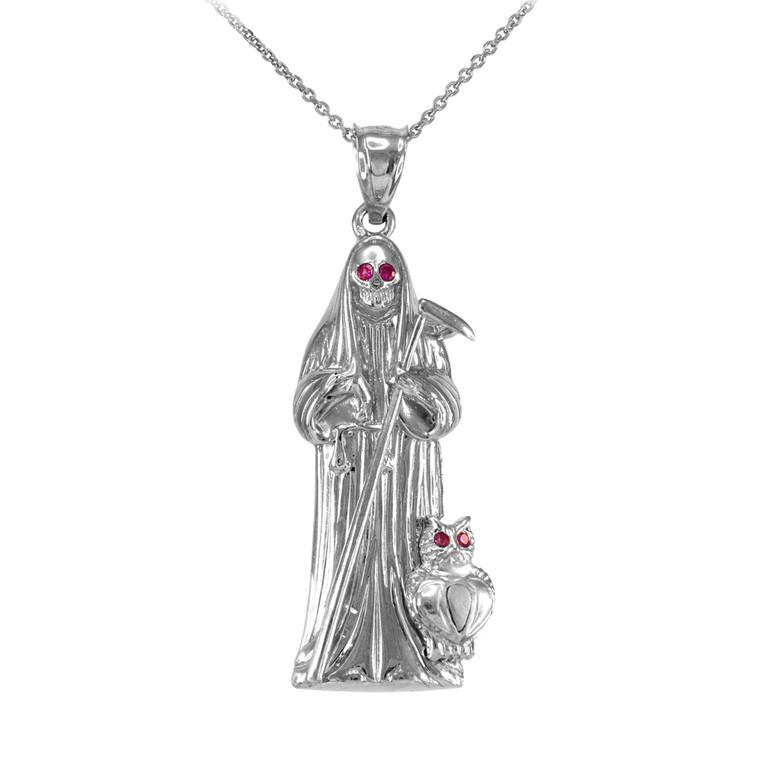 Sterling Silver Santa Muerte Owl Red CZ Pendant Necklace