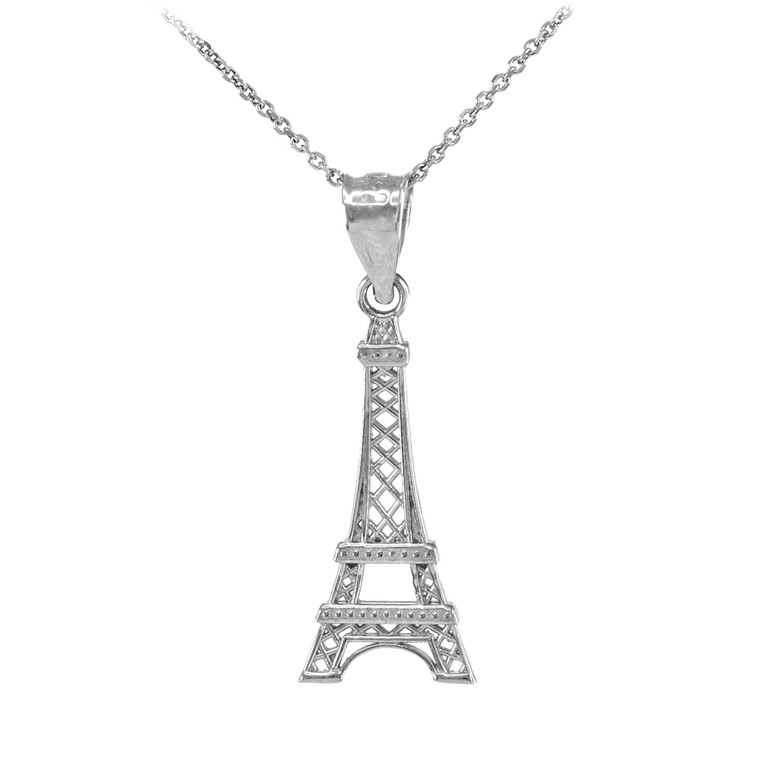 White Gold Eiffel Tower Pendant Necklace