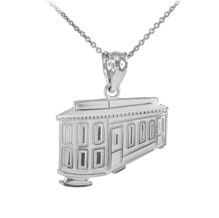 Sterling Silver San Francisco Cable Car Pendant Necklace