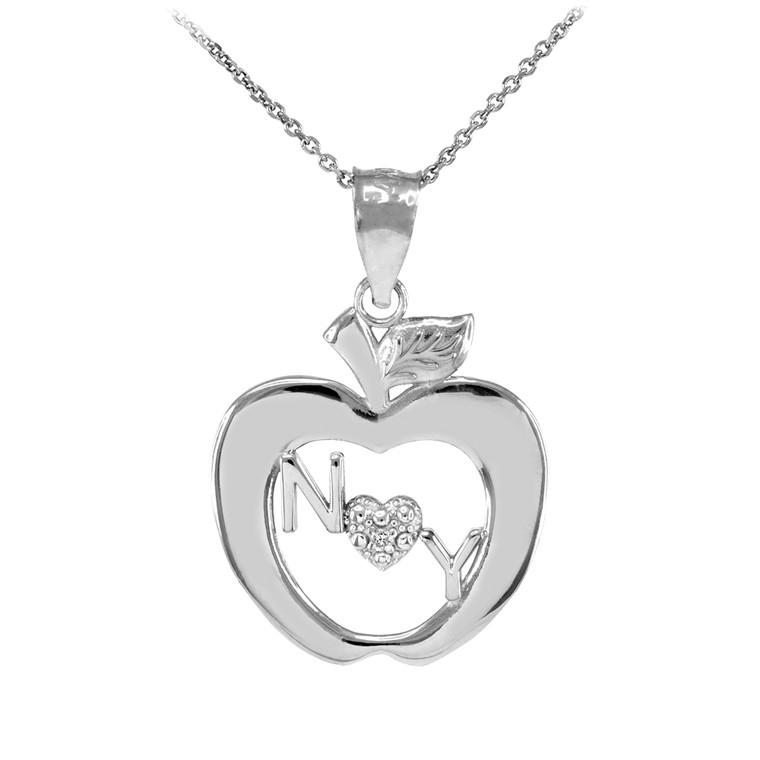 White Gold New York Big Apple Diamond Pendant Necklace