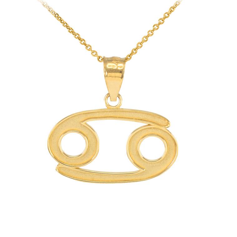 Gold Cancer Zodiac Sign Pendant Necklace