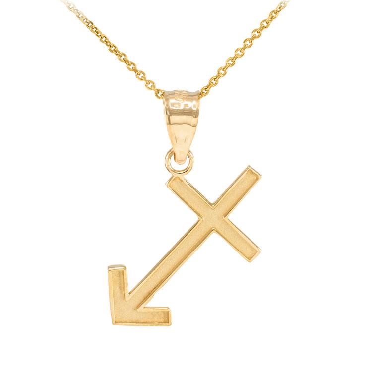 Gold Sagattarius Zodiac Sign Pendant Necklace