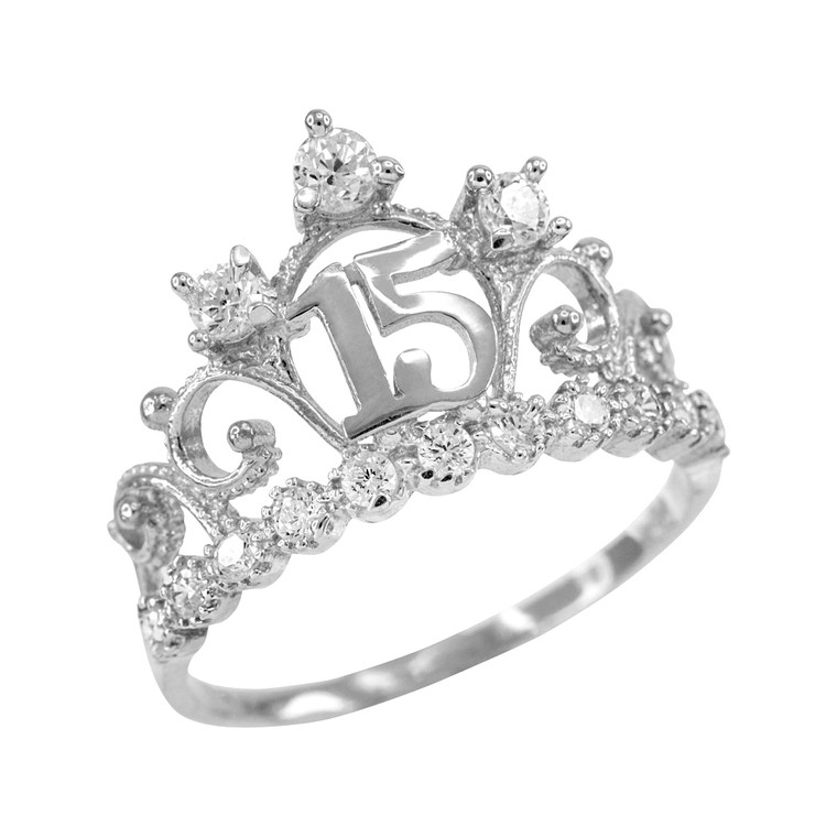 White Gold Quinceanera 15 Anos Crown CZ Ring
