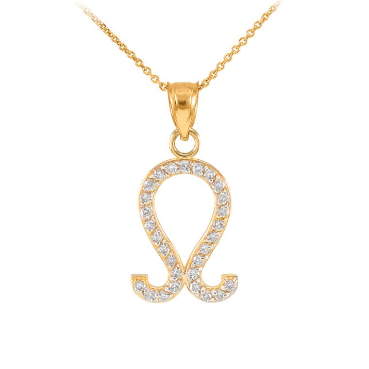 14K Gold Leo Zodiac Sign Diamond Pendant Necklace