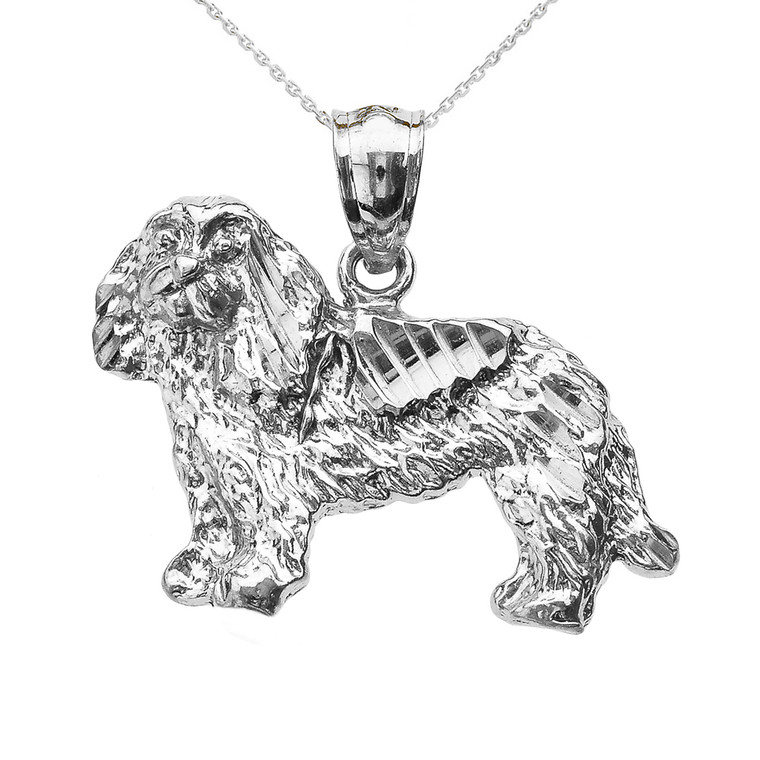 Sterling Silver Diamond Cut King Charles Spaniel Pendant Necklace
