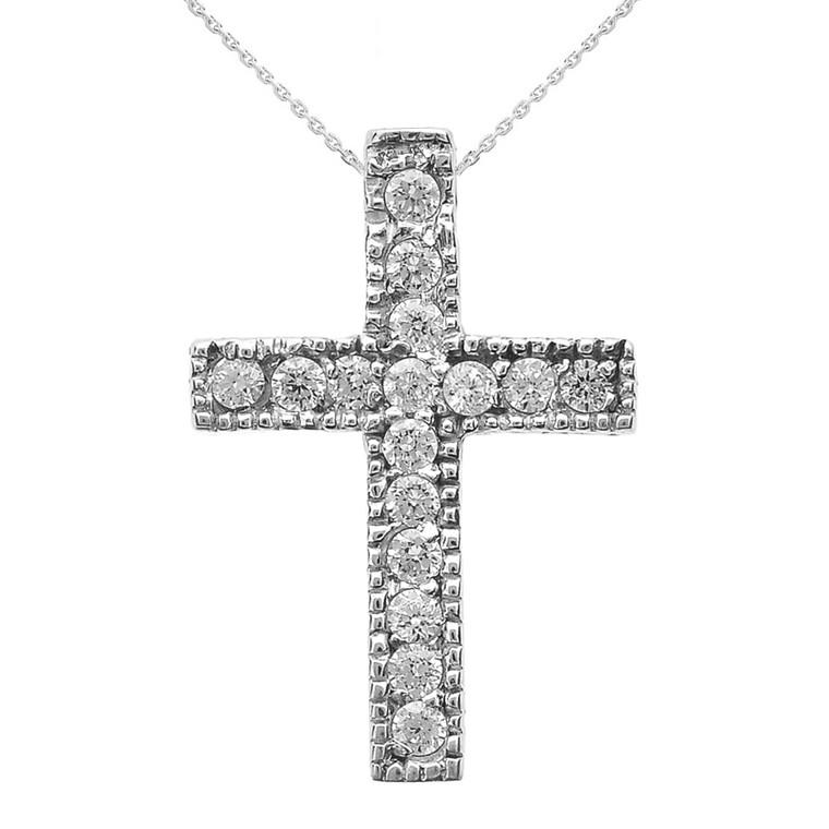 Sterling Silver Milgrain Edged Cubic Zirconia Cross Pendant Necklace (Small)