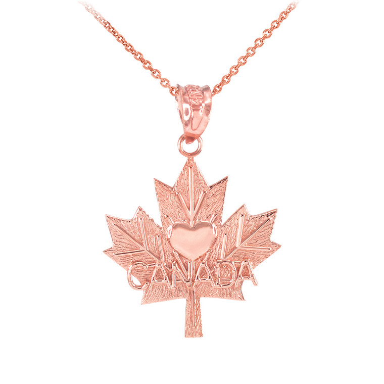 Rose Gold Maple Leaf CANADA Heart Pendant Necklace