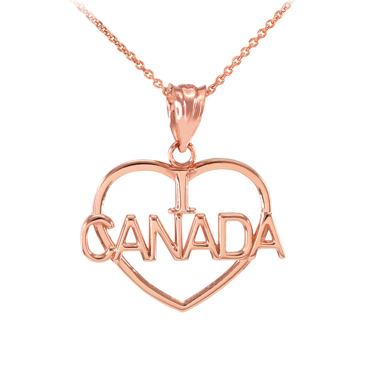 Rose Gold Open Heart Shaped I Love CANADA Pendant Necklace